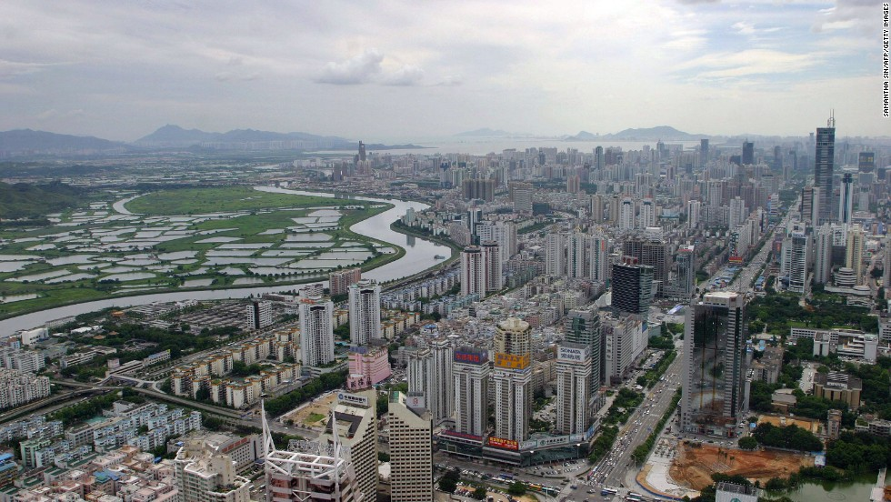 Hong Kong's green border zone is separated from Shenzhen by the Shenzhen River seen in this file picture from 2004.
