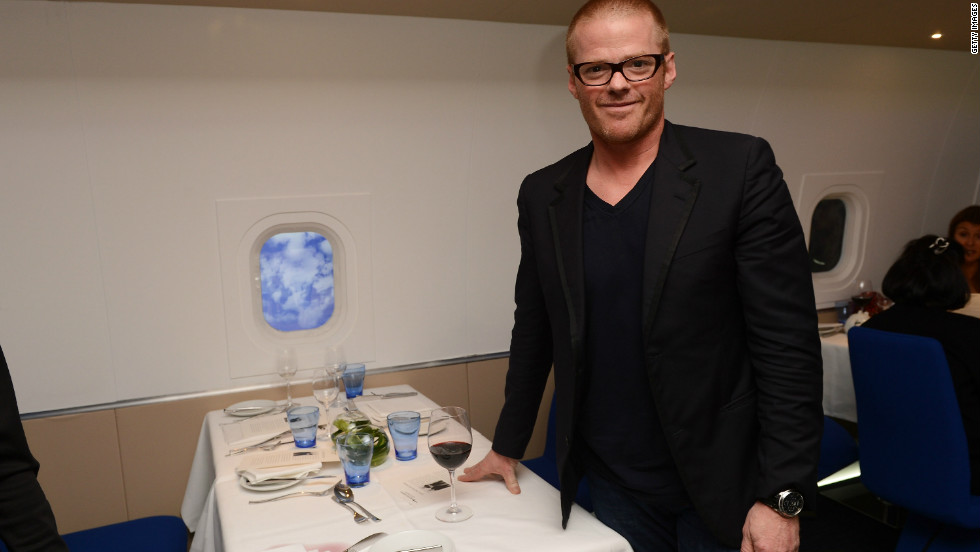 Heston Blumenthal launches British Airways special Olympic in-flight menu which he has helped design alongside Michelin star chef, Simon Hulstone.