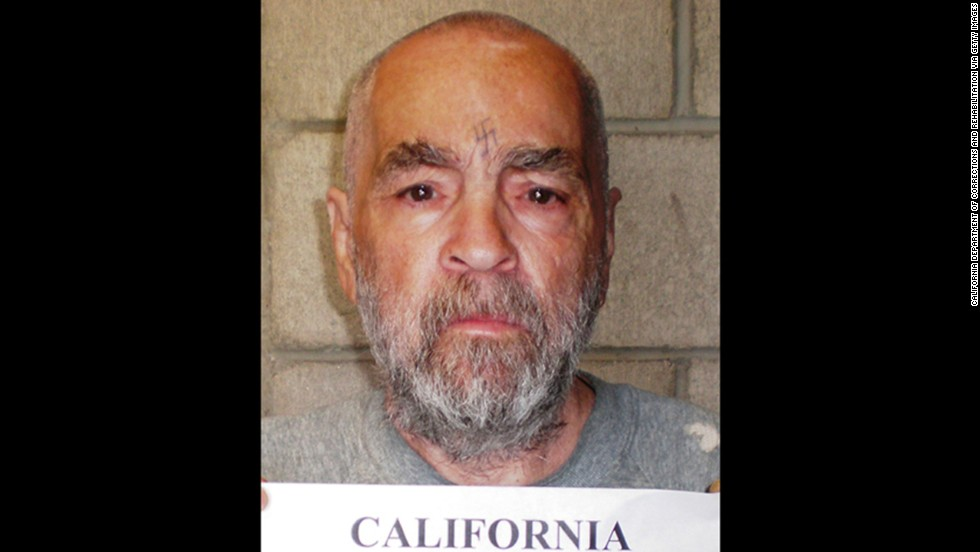 In this 2009 prison photo, Manson is seen without his trademark long hair. Manson is serving nine life terms for ordering a wave of killings in the summer of 1969.