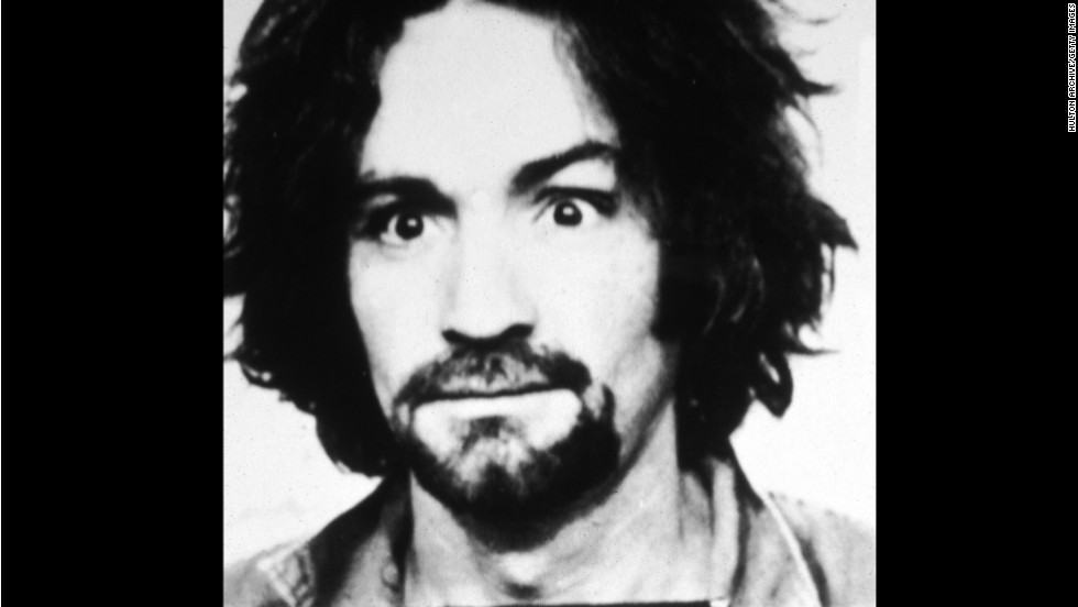 This 1969 mug shot shows Manson soon after the murder of actress Sharon Tate.