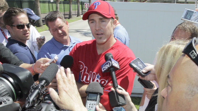 File photo: Philadelphia Phillies 2B Chase Utley takes questions from reporters