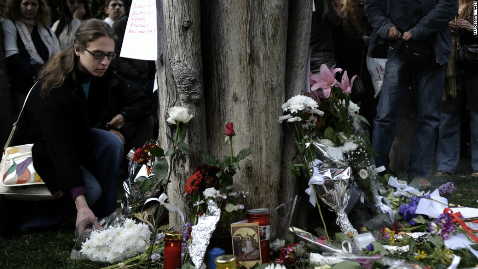 The May 6 elections came after protests at the country's austerity meaures. In April an elderly man shot himself in central Athens, citing austerity measures as a reason for the suicide. People laid flowers at the site of his death.
