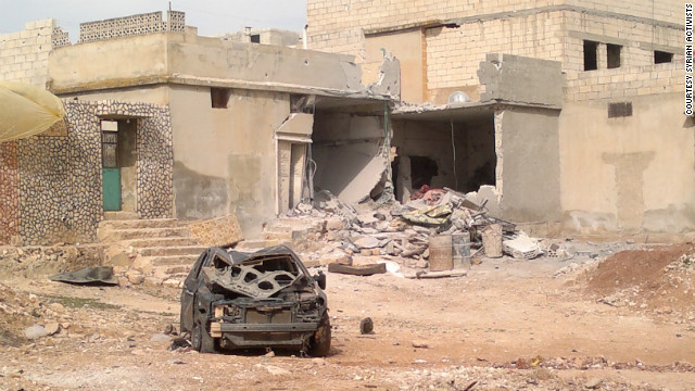 Artillery damage in Taftanaz on Thursday, April 5, 2012