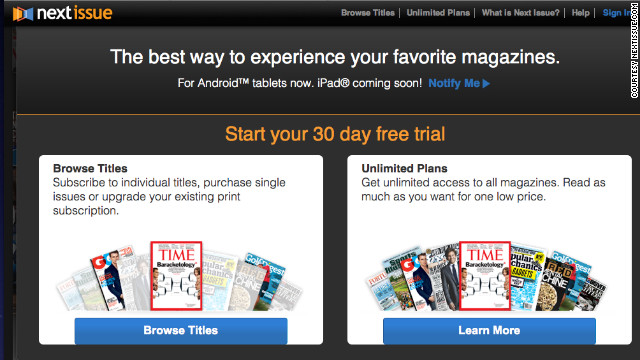 Next Issue Media has launched its app for the iPad, which let users pay a monthly fee for access to dozens of magazines.