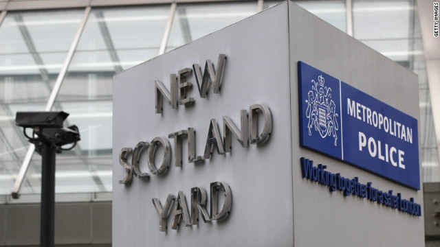 Scotland Yard said a residence was being searched in connection with the arrest.