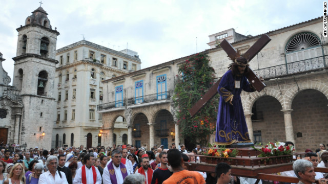 Cuban believers take part in a procession during Good Friday on April 6, 2012