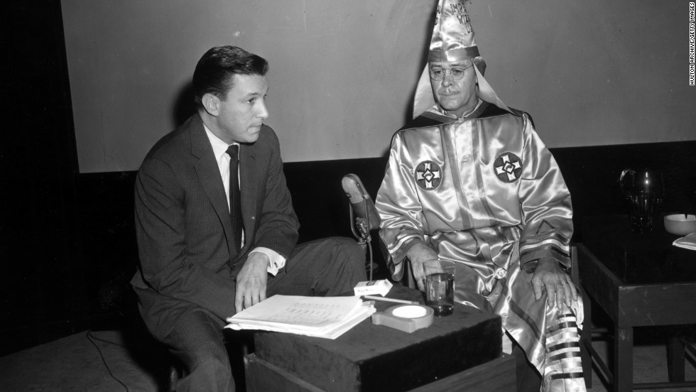 Wallace interviews Ku Klux Klan imperial wizard Eldon Lee Edwards around 1956.