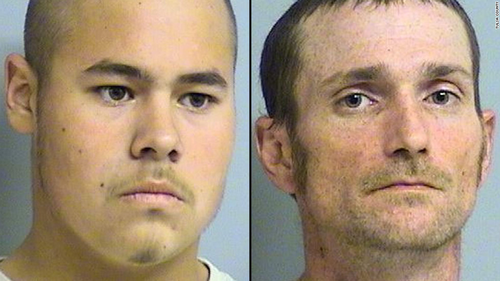 """Jake England, left, and Alvin Watts will be arraigned Wednesday, facing <a href=""""http://www.cnn.com/2013/01/04/justice/oklahoma-shootings/index.html"""" target=""""_blank"""">murder and hate crime charges</a> after a shooting in April that killed three and wounded two others in Tulsa, Oklahoma. Prosecutors are seeking the death penalty."""