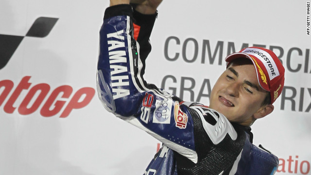 Jorge Lorenzo celebrates his MotoGP season-opening victory in Qatar