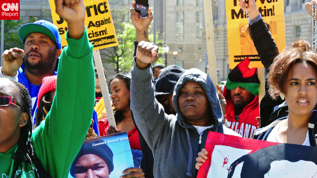 Activists march last week in Washington demanding justice in the death of Trayvon Martin.