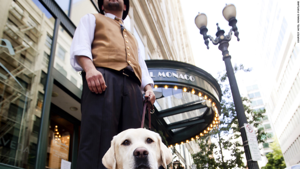 Hotel Monaco in Portland, Oregon has a pet psychic on staff who can work with animals and their owners to improve a relationship and solve behavioral issues during a complimentary wine hour.