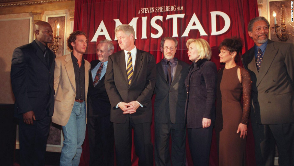 "Then U.S. President Bill Clinton and First Lady Hillary Clinton attend the Washington premiere of ""Amistad"" on 4 December 1997."
