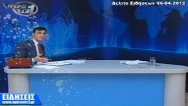 Greek TV anchor pelted with yogurt, eggs