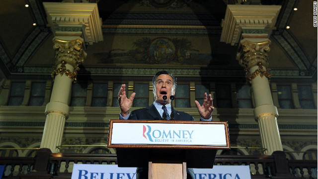 former Massachusetts Gov. Mitt Romney speaks to supporters during his primary night gathering at The Grain Exchange on April 3 in Milwaukee, Wisconsin.