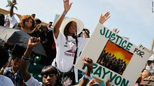 Trayvon Martin supporters gather for a rally in his honor in Miami, Florida, on April 1.