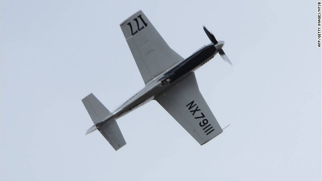The modified 1944 P-51 Mustang just before crashing at the Reno Air Races September 16, 2011