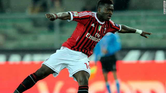 Sulley Muntari scores the only goal of the match for Milan in Tuesday's vital win at Chievo.
