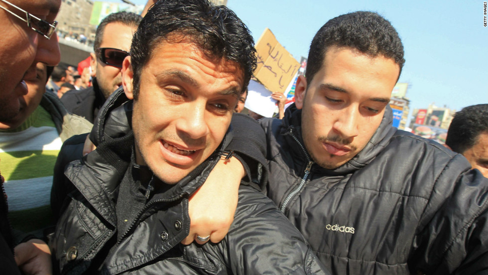 Hassan demonstrates in Cairo the day after the fatal football clashes in Port Said left  74 people dead. He said the violence on February 1 was a result of fanaticism.