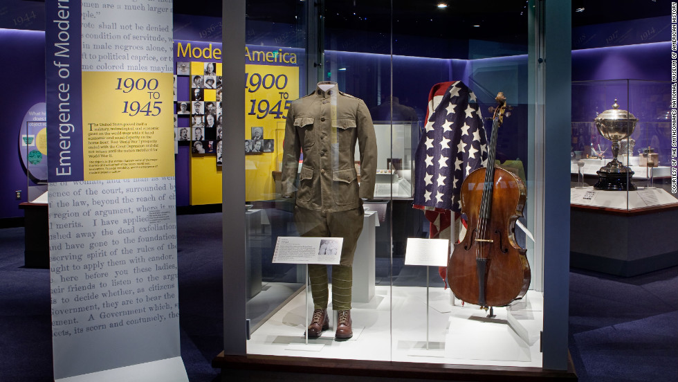 "Irving Berlin's uniform from the film ""This Is The Army"" is on view. The film helped raise money to support the military and featured a cast of enlisted World War II soldiers."