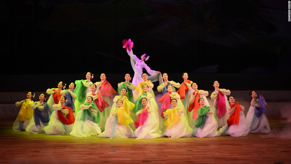 A dance troupe performs during the opening ceremony of the Spring Arts Festival in Pyongyang.