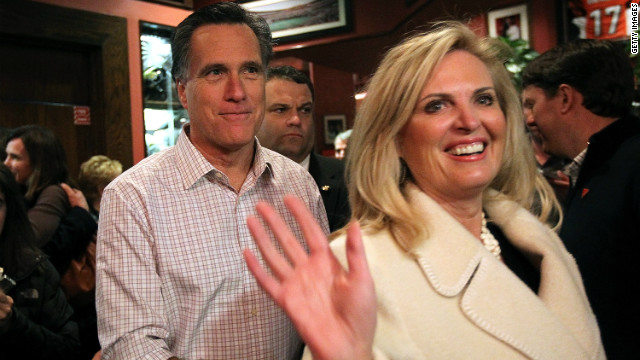 Ann Romney campaigns with her husband, Mitt, in Cincinnati before last month's Super Tuesday primaries.