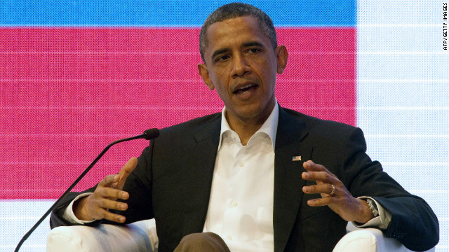 US President Barack Obama speaks during a forum with Brazil's President Dilma Rousseff and Colombia's President Juan Manuel Santos at the CEO Summit of the Americas, within the framework of the VI Summit of the Americas, in Cartagena de Indias, Colombia, on April 14, 2012. Leaders of the American continent will open later today a two-day summit anxious to expand regional trade, but dogged by controversial issues like contraband of illegal drugs and policy toward Cuba. AFP PHOTO / CRIS BOURONCLE (Photo credit should read CRIS BOURONCLE/AFP/Getty Images)
