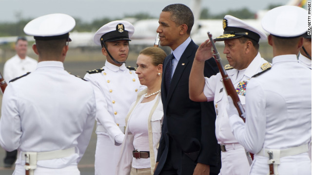 President Obama landed in Colombia on Friday; his visit will mark the most time a U.S. president has spent in the country.