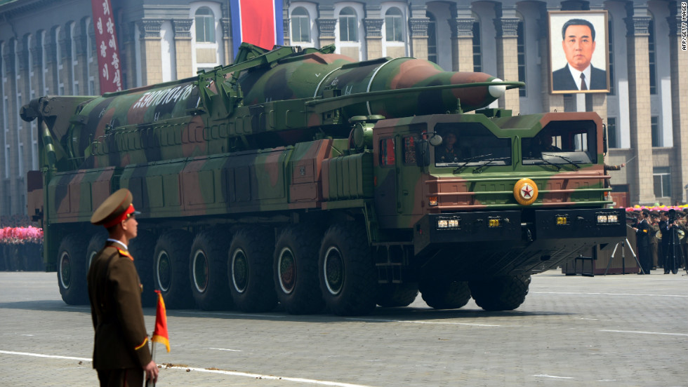 A North Korean missile Taepodong class rolls through the parade. The Friday launch of a long-range rocket was part of the the celebration of Kim Il Song's birthday. The launch was deplored by the United States and many others in the international community, even when it broke apart soon after launch.