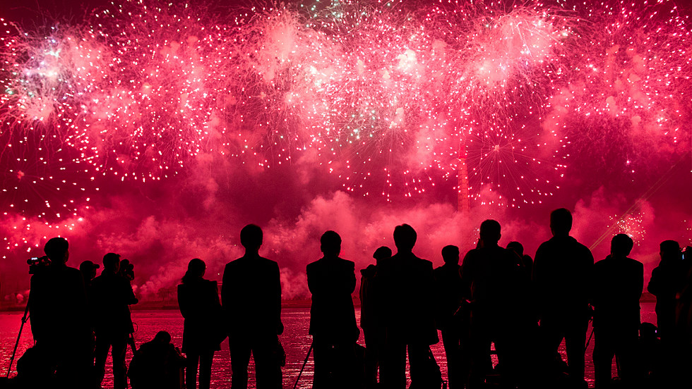 Spectators  watch a fireworks display to mark 100 years since the birth of North Korea's founder Kim Il Sung in Pyongyang on Sunday.