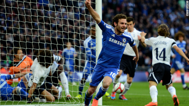 Juan Mata celebrates his controversial goal at Wembley against Tottenham Hotspur.