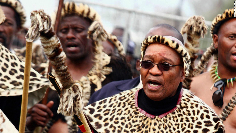 South African President Jacob Zuma joins Zulu King Goodwill Zwelithini ka Bhekuzulu (not in picture) together with thousands of people to honor the birth of Zulu warrior and founder of the Zulu nation King Shaka at Kwadukuzu, some 90 kilometers north of Durban.