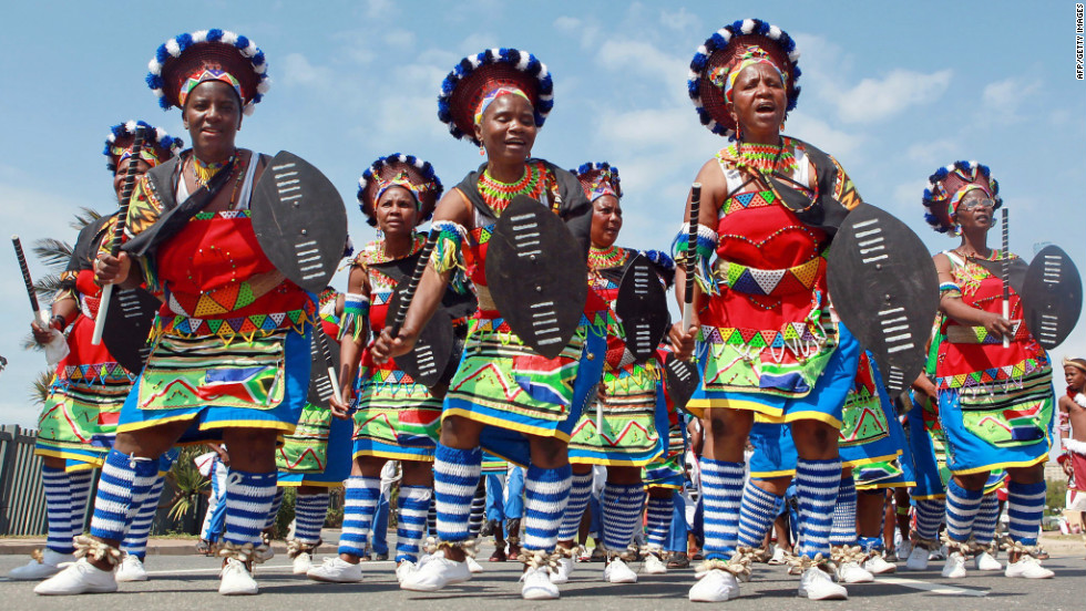 Traditionally clad Zulu dancers and singers march to celebrate South African Heritage Day, celebrated every year on September 24.