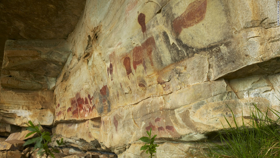 The Drakensberg rocks are known for their galleries of unique cave paintings by the ancient San hunter-gatherers, who left rare glimpses of their lifestyle and beliefs on rocky overhangs about 30,000 years ago.