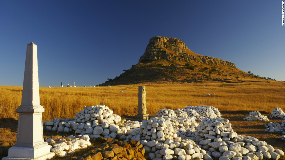 One of a handful of haunting memorials that stand on the field of Isandlwana, where the Zulu army defeated the British in one of the most famous battles of the 19th century Zulu wars.