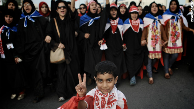 Supporters of Bahrain's main Shiite opposition group Al-Wefaq demonstrate against the government on April 15, 2012.