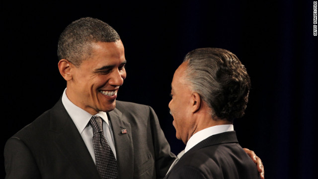 President Barack Obama greets Sharpton at a National Action Network anniversary function last year.