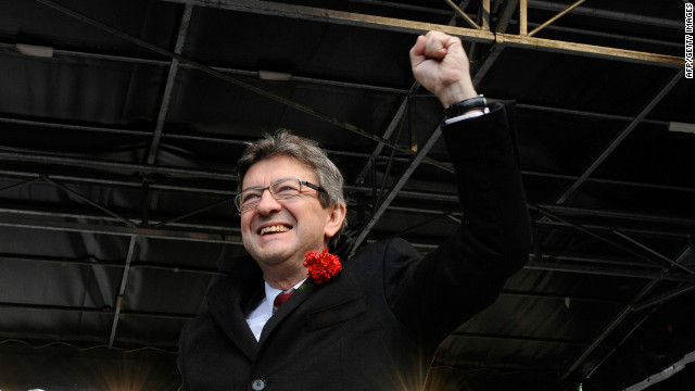 French Front de Gauche (FG) leftist party's candidate Jean-Luc Melenchon at a campaign meeting in Pau, France, on April 15, 2012.