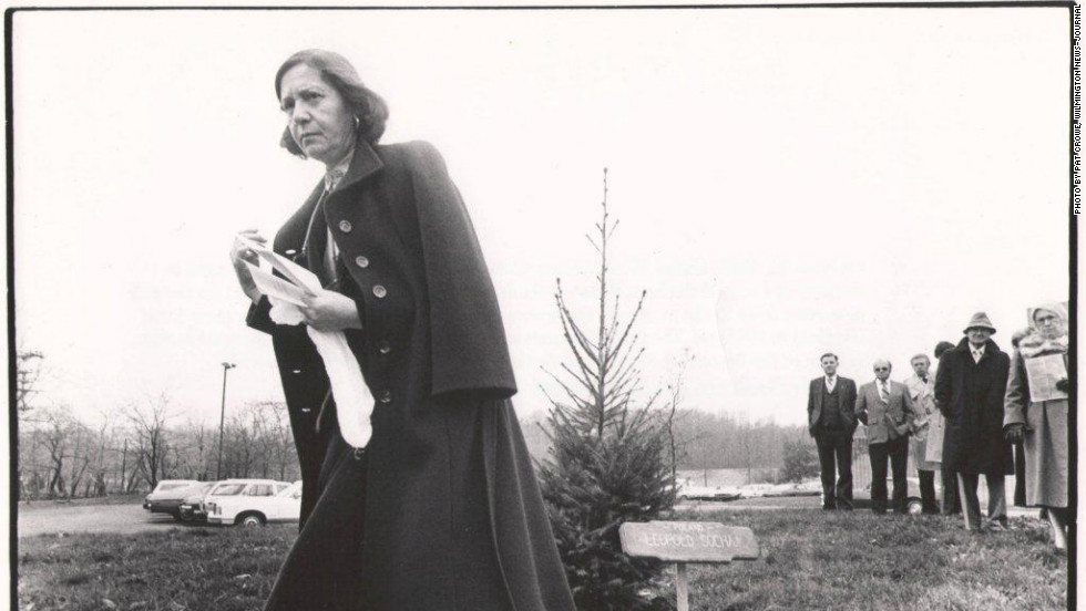 Halina Wind Preston walks away after dedicating a tree in memory of the Polish Catholic sewer worker Leopold Socha in the Garden of the Righteous Gentiles, in front of the Jewish Community Center, Wilmington, Delaware, on November  16, 1981.
