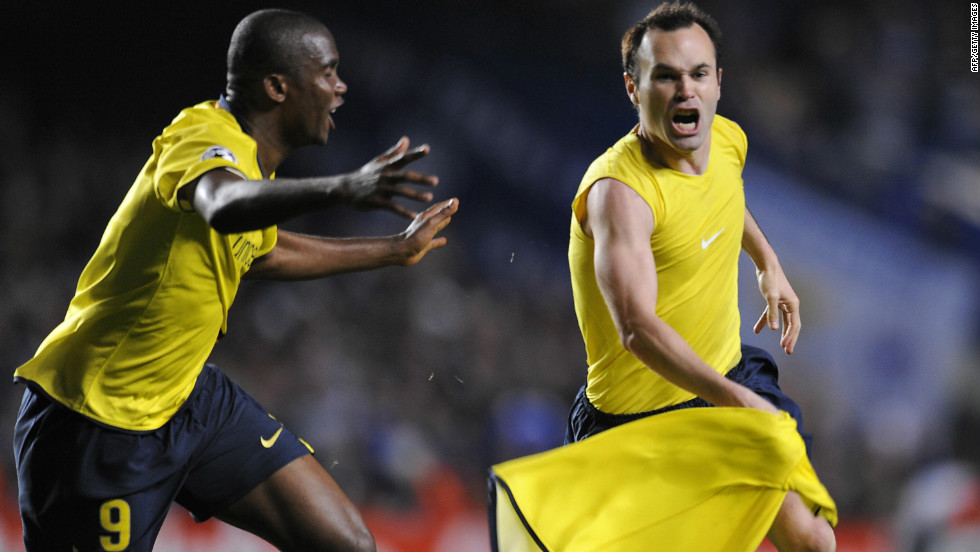 Andres Iniesta, right, celebrates after scoring in the final moments of the 2009 European Champions League semifinal against Chelsea.