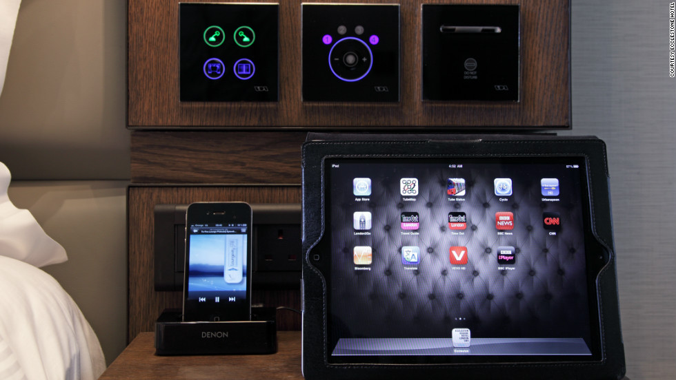 The line-up of gadgets -- including the in-room iPad2 -- on offer at London's Ecclestone Hotel.