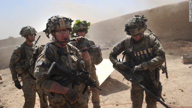U.S. troops, part of the ISAF force, on patrol in a village in Afghanistan's Kandahar Province.