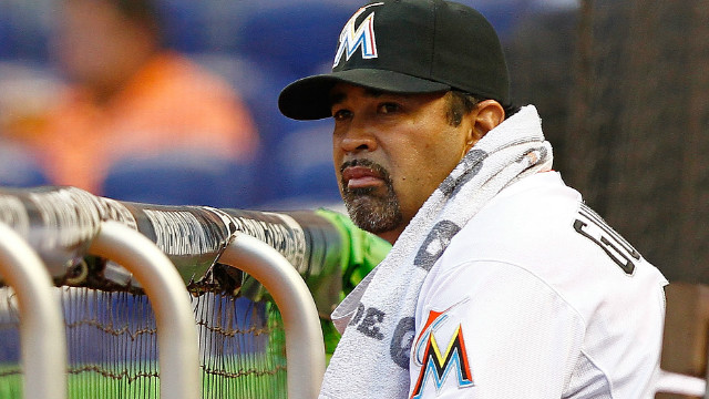 Manager Ozzie Guillen of the Marlins looks on during a game against the Chicago Cubs in Miami on Tuesday.