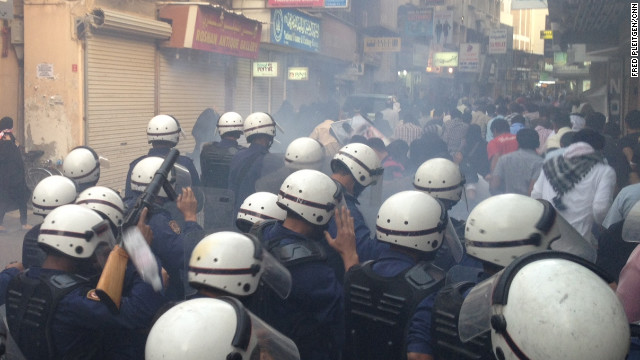 Police in Manama Wednesday push out protesters supporting jailed hunger striker Abdulhadi al-Khawaja.