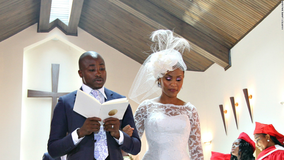 A newlywed couple during their church ceremony.