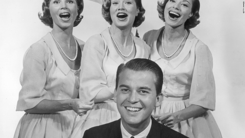 Clark, front,  with the McGuire Sisters and Johnny Mathis circa 1955.