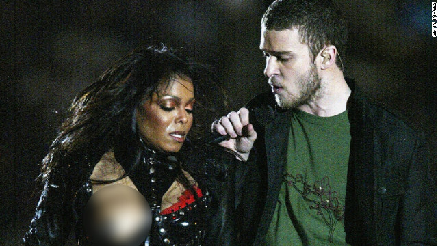 "Janet Jackson experiences a ""wardrobe malfunction"" while performing with Justin Timberlake during the 2004 Super Bowl halftime show."