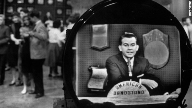 TV personality Dick Clark on his show American Bandstand.  (Photo by Paul Schutzer//Time Life Pictures/Getty Images)