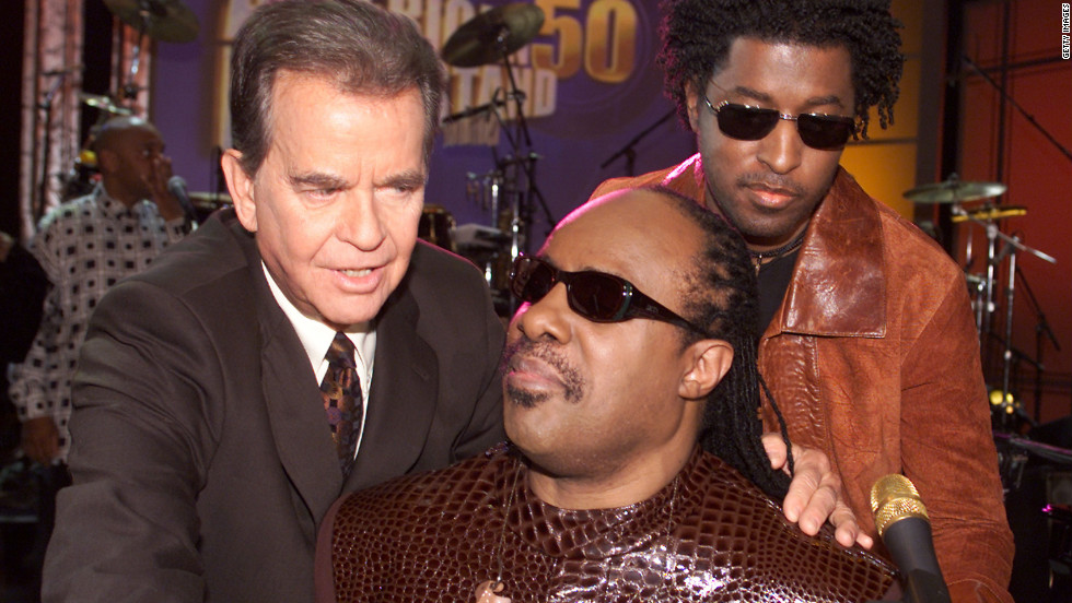 "Clark, Stevie Wonder and Babyface at the taping of ""American Bandstand's 50th...A Celebration"" at the Pasadena Civic Auditorium in Pasadena, Ca. Saturday, April 20, 2002."