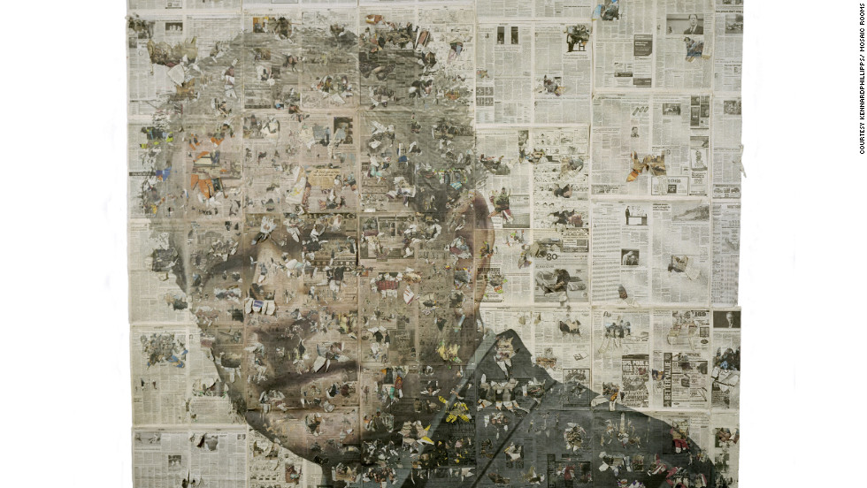 "kennardphillipps use media images and newspaper clippings to make many of their artworks, including this 2007 piece ""George Bush, a Portrait."""