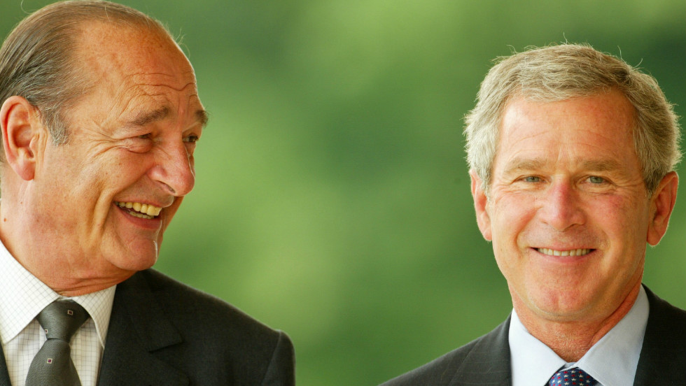 All smiles as French President Jacques Chirac meets U.S. President George W. Bush in June 2003, but tensions over Iraq damaged the relationship.